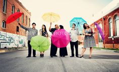 Cousins, siblings, young adult poses. Bright props for a splash of playful personality. Love the color splash.. Another idea with umbrella.. With  body of water like lake, ocean or pool in background
