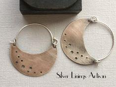 Crescent Moon Earrings, Sterling Silver Hoops, Artisan Jewelry, Hoop Earrings, Metalsmith, Handmade, Patina by SilverLiningsArtisan on Etsy #SterlingSilverEarrings