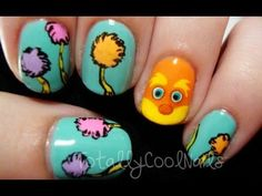 These are lorax nails. now i am terrible at doing nails but i am guessing that you would need these colors or something close to them you really just have to have a steady hand trace around the character and tree. but i haven't tried it but in my opinion the lorax looks farely easy.