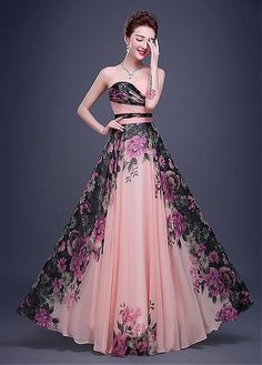 In Stock Chic Chiffon Sweetheart Neckline A-line Floral Evening Dress