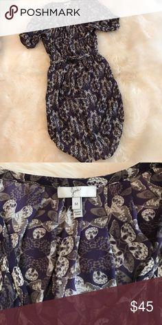 Silk shirt dress with tie Butterfly print, button up, shirt hem. 100% silk Joie Dresses
