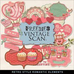 Far Far Hill: Freebies Kit of Retro Style Romantic Elements