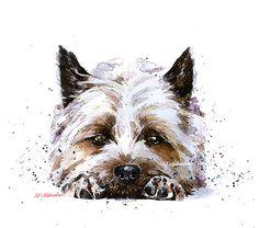 Cairn Terrier 2 Print Watercolour A3 2016 inches