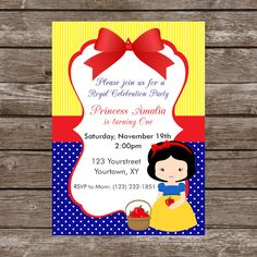 Invitación Cumpleaños Blancanieves-Digital por RedPoppyArtDesigns