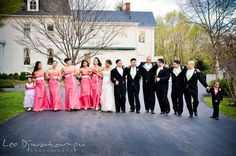 Flower girl, ring bearer boy, bridesmaids, maid of honor, bride, groom, best man and groomsmen walking together. Ceresville Mansion Frederick Maryland Wedding Photo by wedding photographer Leo Dj Photography