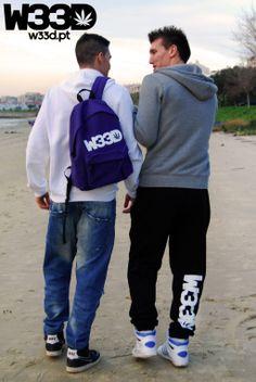 W33D Sweatpants and Purple Backpack. #W33D