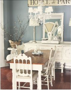 Farm house decor. the blue on the walls would look nice with the porch I think