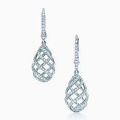 Paloma's Venezia Luce drop earrings in 18k white gold with diamonds, mini.
