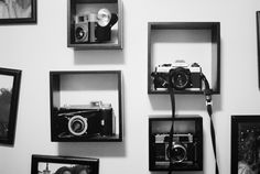 A more modern & clean approach to a vintage camera display.