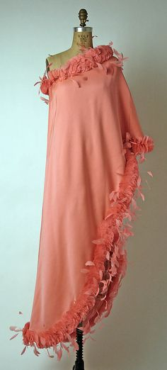 ~givenchy 1968 silk and feather one shouldered gown