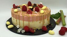 Iskake med kokosbunn, hvit sjokolade og rabarbra Frisk, Parfait, Nom Nom, Cheesecake, Food And Drink, Cooking Recipes, Ice Cream, Sweets, Chocolate