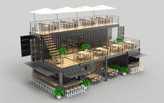 Outdoor Restaurant Patio, Restaurant Plan, Deco Restaurant, Rooftop Restaurant, Building A Container Home, Container Buildings, Container House Plans, Container House Design, Container Cabin