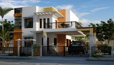 Looking for modern and feel relaxing design of house? Why don't you try this two-story house design with a balcony? In this house design which adding balcony. Two Story House Design, 2 Storey House Design, Simple House Design, Bungalow House Design, Design Your Dream House, Minimalist House Design, Modern House Design, Modern Minimalist, Modern Mediterranean Homes