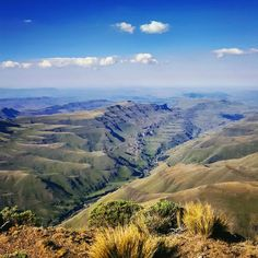 """Ellie Crane on Instagram: """"Sani Pass - looking out on South Africa from Lesotho. The Drakensberg Mountains are technically cliffs, not mountains, as they were formed…"""" Midland Meander, Kwazulu Natal, Kruger National Park, Lush Green, Crane, South Africa, Birth, Destinations, The Incredibles"""