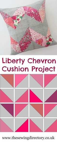 Make this beautiful Liberty and Linen Chevron Cushion - free tutorial by Lou Orth