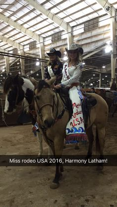 The newly crowned Miss Rodeo USA 2016, Harmony Latham with Miss Rodeo USA 2015, Kirbi Allen