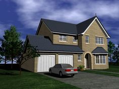 House Plans Uk, Double Garage, Types Of Houses, Bay Window, Sims 4, Living Spaces, Lounge, Cabin, Windows