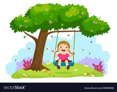 Girl swinging on a swing under the tree Royalty Free Vector Art Drawings For Kids, Drawing For Kids, Art For Kids, Girl Swinging, Quiet Time Activities, Eid Cards, Kids Swing, Birthday Frames, Infant Activities