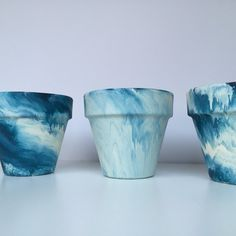 Marble Terra Cotta Pots - 6 inch Painted Pots - Succulent Planter - Tie Dye Pot - Indigo - Rose - Teal - Marbled Planter - Marbled Pot