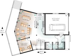 First Floor Plan of Contemporary   Craftsman   House Plan 76226