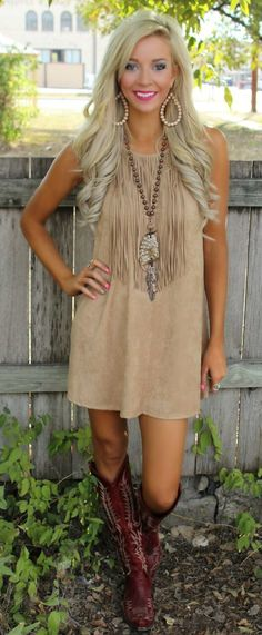 off with code at checkout - Faux Suede Fringe Dress - The Lace Cactus Country Fashion, Country Outfits, Boho Fashion, Girl Fashion, Autumn Fashion, Outfit For Country Concert, Country Dresses With Boots, Country Concerts, Western Dresses