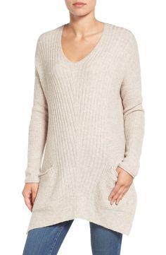 Caslon® Long Shark Bite Hem Sweater (Regular