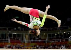 Pauline Schaefer of Germany competes on the balance beam during the Artistic Gymnastics Women's Team Final on Day 4 of the Rio 2016 Olympic Games at...
