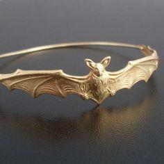Bat Bangle Bracelet  Gold Bat Bracelet Animal by FrostedWillow, $17.95