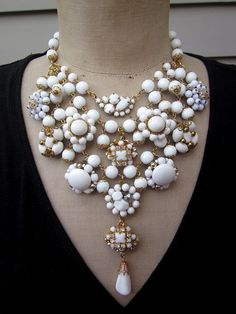 Vintage Necklace Wedding Jewelry Milk Glass by rebecca3030 on Etsy, $189.00