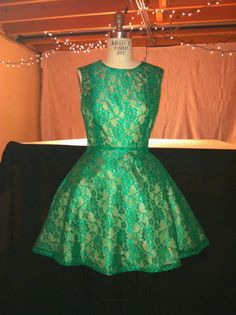 Vintage 1950's Inspired Green Lace Dress by kellyking89 on Etsy, $80.00