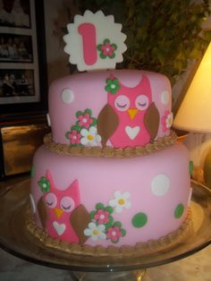 This should totally be Carli's 1st birthday cake @Melanie Bauer Bauer Bauer Hatfield! Pink Owl First Birthday Cake