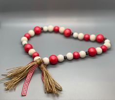 Beaded Garland, Red Plaid, Painting On Wood, Tassel Necklace, Hand Painted, Ink, Beads, Decor, Beading