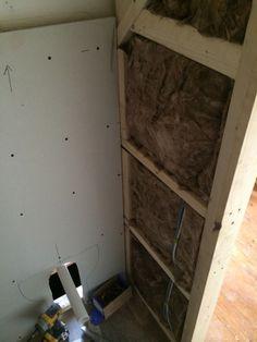 Insulating Studwork With Bathroom Installation In Leeds Small Bathroom Storage, Bathroom Design Small, Small Vanity Unit, Understairs Toilet, 1930s House Renovation, Bathroom Under Stairs, Small Toilet Room, Back To Wall Toilets, Veneer Door