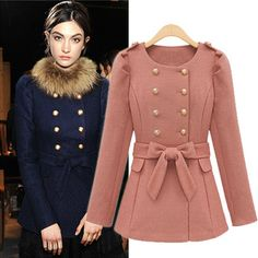 European Fashion Double-Breasted Woolen Coat (With Belt)