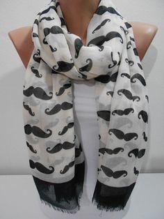 Mustache Scarf Shawl Spring Scarf Cream and Black by ScarfClub