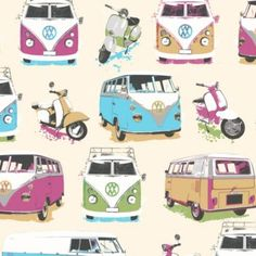 Camper Van Wallpaper in Multicolour with a Textured finish by Muriva Children's Room
