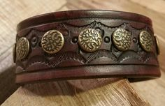 Mens Leather Cuff-Hand Tooled Design-Mahogany/Red by LeatherVision