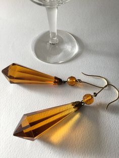 Belle Epoque long amber glass drop earrings, art nouveau jewels, liberty jewels di Quieora su Etsy