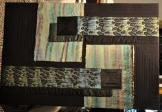 "Hand dyed and Pieced Wall hanging ""matchstick""  34"" x 40"" x 1.75"" 2013"