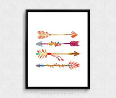 SALE Colorful Arrows Set Of 4 Arrows Watercolor by MomoDigital