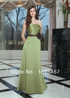 >> Click to Buy << 2014 Simple Lime Green Bridesmaid Dresses Taffeta Scoop Sashes Flowers Off the Shoulder Floor Length Free Shipping JB326 #Affiliate