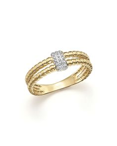 $KC Designs Diamond Double Band Ring in 14K Yellow Gold, .10 ct. t.w. - Bloomingdale's