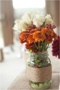 Maintain a casual and homey atmosphere by choosing mason jars instead of fancy vases
