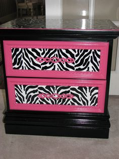 Zebra And Pink Painted Nightstand