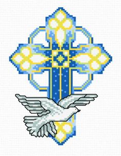 Stain Glass Cross cross stitch pattern.