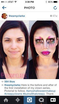 #beforeandafter #clownmakeup look created by Amy Clarke #theamyclarke #halloweenmakeup @theamyclarke #clown