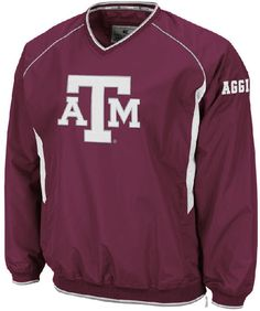 Texas A&M Aggies Maroon Embroidered V Neck School Pride Wind Jacket by Colosseum