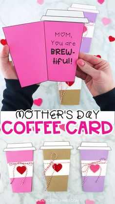 card making ideas videos Simple coffee card template to use for a Mothers Day card. The card is super easy for kids of all ages to make. Print out the templates, cut out the pieces and assemble the coffee cup card. Simple Mothers Day card ideas for kids. Easy Mother's Day Crafts, Mothers Day Crafts For Kids, Diy Mothers Day Gifts, Mothers Day Quotes, Fathers Day Crafts, Mothers Day Cards, Gifts For Mom, Kids Crafts, Cute Mothers Day Ideas