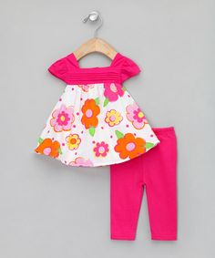 Take a look at this Pink Two-Piece Sundress & Leggings Set - Infant  by Zip Zap on #zulily today!