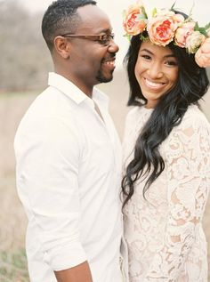 Using your engagement photos for your save-the-date and want them to look just a little bridal? This couple matched in ivory with him in a button-up shirt and her in a dreamy lace dress with floral crown. @myweddingdotcom